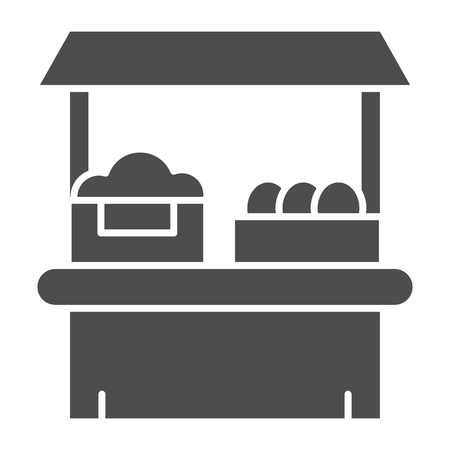 Grocery shop solid icon. Farm store vector illustration isolated on white. Market glyph style design, designed for web and app. Eps 10