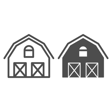Farm house line and glyph icon. Warehouse vector illustration isolated on white. Barn outline style design, designed for web and app. Eps 10.
