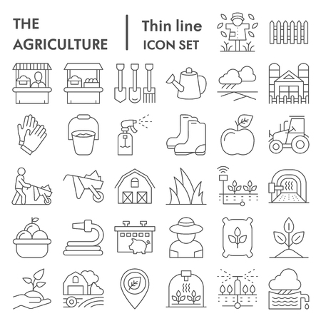 Agriculture thin line icon set, farming symbols collection, vector sketches, logo illustrations, gardening signs linear pictograms package isolated on white background, eps 10.