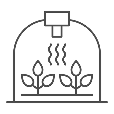 Greenhouse with leaf thin line icon. Sprout growth vector illustration isolated on white. Garden outline style design, designed for web and app. Eps 10.