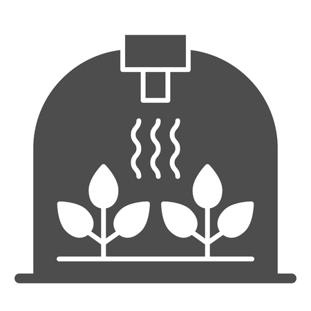 Greenhouse with leaf solid icon. Sprout growth vector illustration isolated on white. Garden glyph style design, designed for web and app. Eps 10.