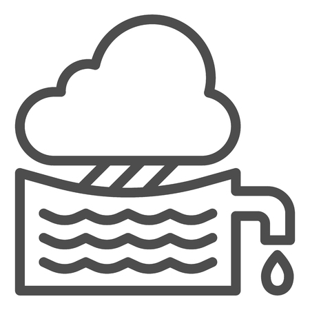 Rainwater tank line icon. Water container vector illustration isolated on white. Agriculture outline style design, designed for web and app. Eps 10.
