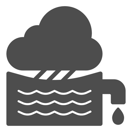 Rainwater tank solid icon. Water container vector illustration isolated on white. Agriculture glyph style design, designed for web and app. Eps 10.