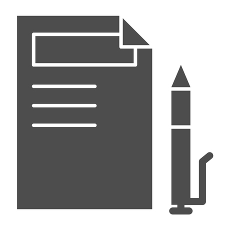 Document and pen solid icon. Paper and pencil vector illustration isolated on white. Sign list glyph style design, designed for web and app. Eps 10