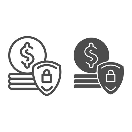 Protection money line and glyph icon. Dollar coins and shield vector illustration isolated on white. Finance secure outline style design, designed for web and app. Eps 10 Illusztráció