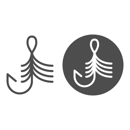 Fishing hook line and glyph icon. Bait vector illustration isolated on white. Fishhook outline style design, designed for web and app. Eps 10 向量圖像