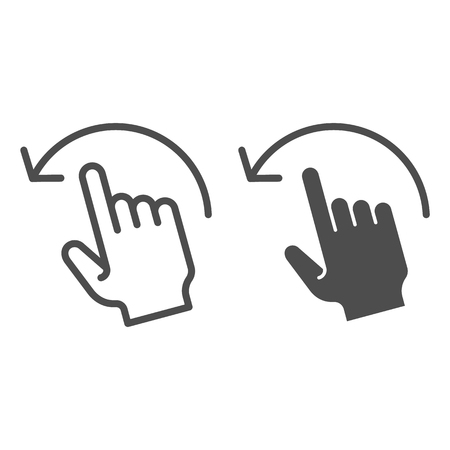 Swipe left line and glyph icon. Flick left vector illustration isolated on white. Hand gesture outline style design, designed for web and app. Eps 10.