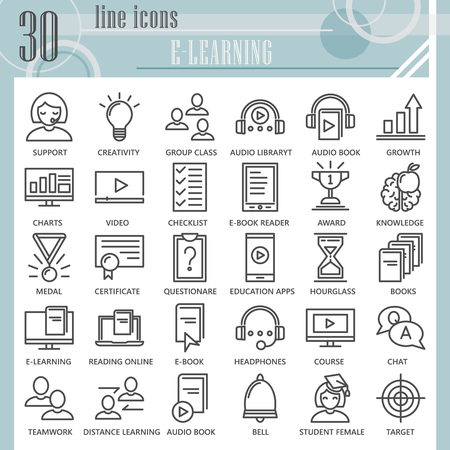 E-learning line icon set, education symbols collection, vector sketches, logo illustrations, study signs linear pictograms package isolated on white background, eps 10.