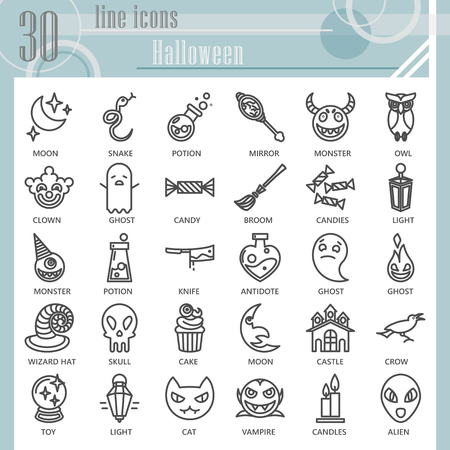 Halloween line icon set, horror symbols collection, vector sketches, logo illustrations, creepy signs linear pictograms package isolated on white background, eps 10.
