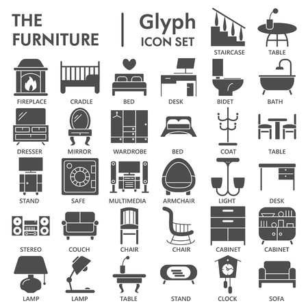 Furniture glyph icon set, interior symbols collection, vector sketches, logo illustrations, home signs solid pictograms package isolated on white background, eps 10. Logo
