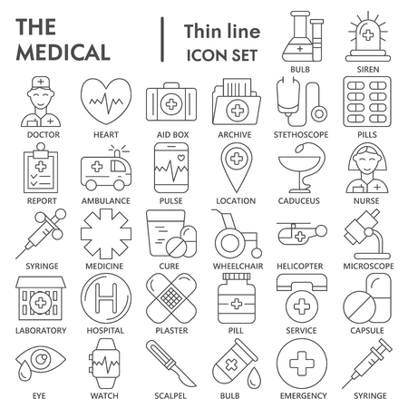 Medical thin line icon set, medicine symbols collection, vector sketches, logo illustrations, pharmacy signs linear pictograms package isolated on white background, eps 10.