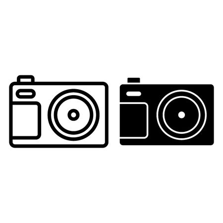 Photo camera front view line and glyph icon. Photography vector illustration isolated on white. Digital camera outline style design, designed for web and app. Eps 10. 일러스트