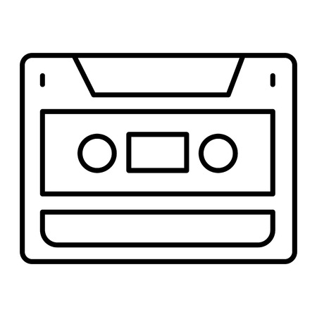 Audio cassette thin line icon. Video cassette vector illustration isolated on white. Recorder outline style design, designed for web and app. Eps 10.
