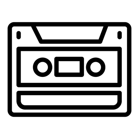 Audio cassette line icon. Video cassette vector illustration isolated on white. Recorder outline style design, designed for web and app. Eps 10.