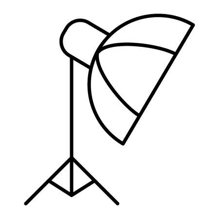 Photo studio equipment thin line icon. Umbrella on tripod vector illustration isolated on white. Photo umbrella outline style design, designed for web and app. Eps 10 Illustration