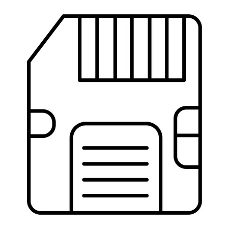 Memory card thin line icon. Sd card vector illustration isolated on white. Chip outline style design, designed for web and app. Eps 10.