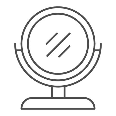 丸いメイクアップミラー細線アイコン。ホワイトに分離されたデスクミラーベクトルイラスト。Webとアプリ用に設計されたテーブルミラーアウトラインスタイルデザイン。Eps 10。
