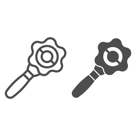 Baby rattle line and glyph icon. Attention toy vector illustration isolated on white. Beanbag outline style design, designed for web and app. Eps 10 일러스트