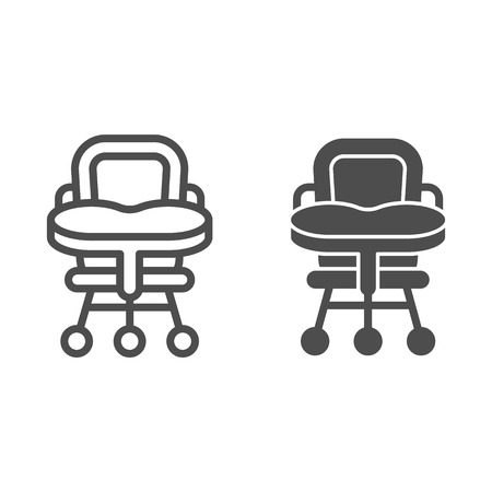 Baby chair line and glyph icon. High chair vector illustration isolated on white. Kid seat outline style design, designed for web and app. Eps 10 Ilustrace