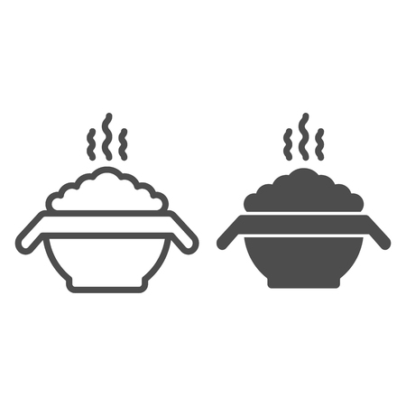 Hot porridge line and glyph icon. Bowl with food vector illustration isolated on white. Meal outline style design, designed for web and app. Eps 10