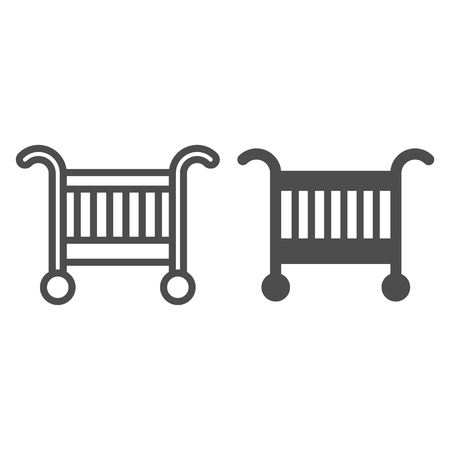 Baby cradle bed line and glyph icon. Baby crib vector illustration isolated on white. Sleep outline style design, designed for web and app. Eps 10