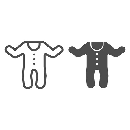 Baby jumpsuit line and glyph icon. Child's overalls vector illustration isolated on white. Baby clothes outline style design, designed for web and app. Eps 10 Illustration
