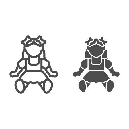 Doll girl line and glyph icon. Toy vector illustration isolated on white. Kid toy outline style design, designed for web and app. Eps 10 Illustration