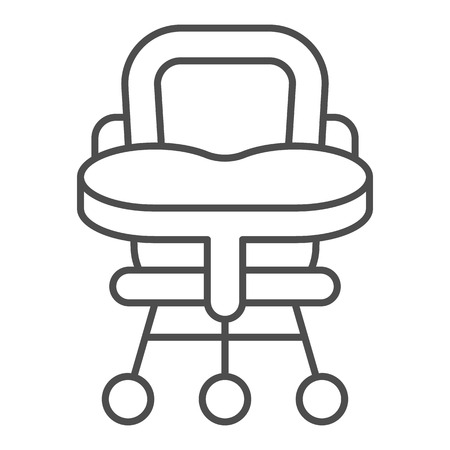 Baby chair thin line icon. High chair vector illustration isolated on white. Kid seat outline style design, designed for web and app. Eps 10