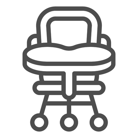 Baby chair line icon. High chair vector illustration isolated on white. Kid seat outline style design, designed for web and app. Eps 10 일러스트