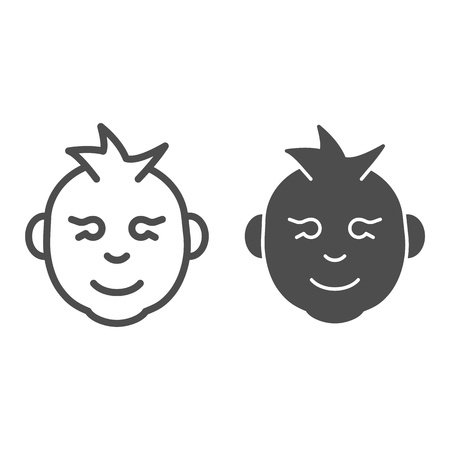 Baby boy line and glyph icon. Kid smiling face vector illustration isolated on white. Child boy face outline style design, designed for web and app. Eps 10 일러스트