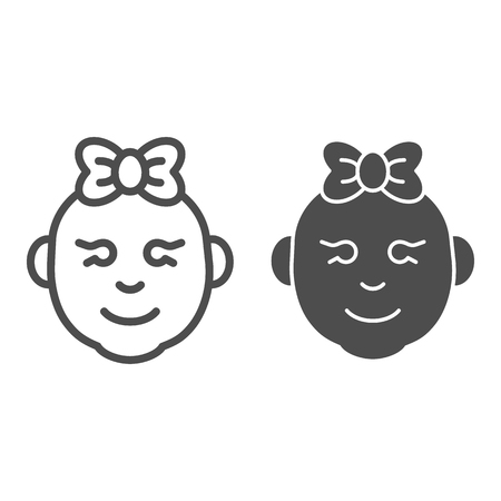 Baby girl line and glyph icon. Little girl smiling face vector illustration isolated on white. Child girl face outline style design, designed for web and app. Eps 10
