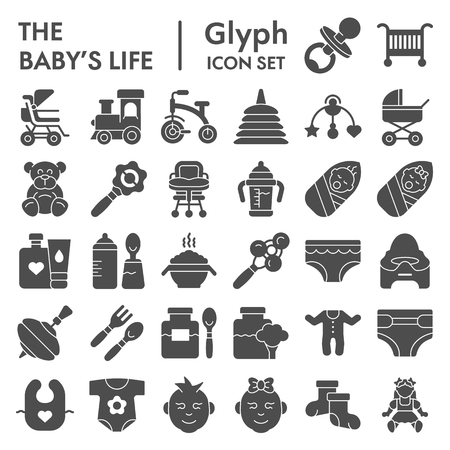 Babys life glyph icon set, newborn symbols collection, vector sketches, logo illustrations, kid signs solid pictograms package isolated on white background, eps 10