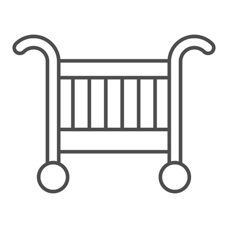 Baby cradle bed thin line icon. Baby crib vector illustration isolated on white. Sleep outline style design, designed for web and app. Eps 10.