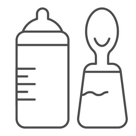 Baby bottle and spoon thin line icon. Bottle with teat and spoon vector illustration isolated on white. Baby nutrition outline style design, designed for web and app. Eps 10 Illustration