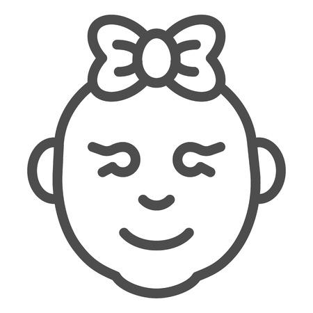 Baby girl line icon. Little girl smiling face vector illustration isolated on white. Child girl face outline style design, designed for web and app. Eps 10.