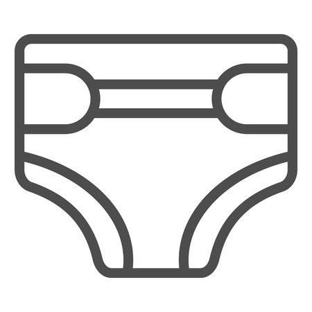 Disposable diaper line icon. Child's nappy vector illustration isolated on white. Baby diaper outline style design, designed for web and app. Eps 10