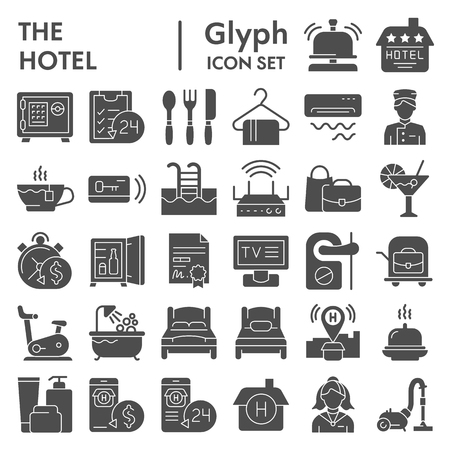 Hotel glyph icon set, service symbols collection, vector sketches, logo illustrations, hostel signs solid pictograms package isolated on white background, eps 10.