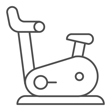 Exercise bike thin line icon. Gym bicycle vector illustration isolated on white. Fitness outline style design, designed for web and app. Eps 10.