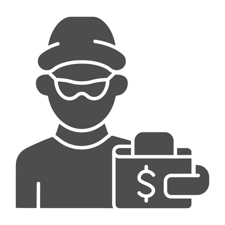 Thief and wallet solid icon. Crime vector illustration isolated on white. Theft and wallet glyph style design, designed for web and app. Eps 10