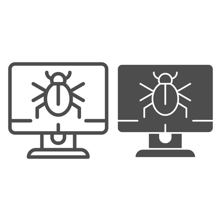 Alert notification on desktop line and glyph icon. Infected computer vector illustration isolated on white. Computer bug on screen outline style design, designed for web and app. Eps 10.