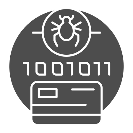 Digital code infected solid icon. Credit card virus password vector illustration isolated on white. Password with bug glyph style design, designed for web and app. Eps 10