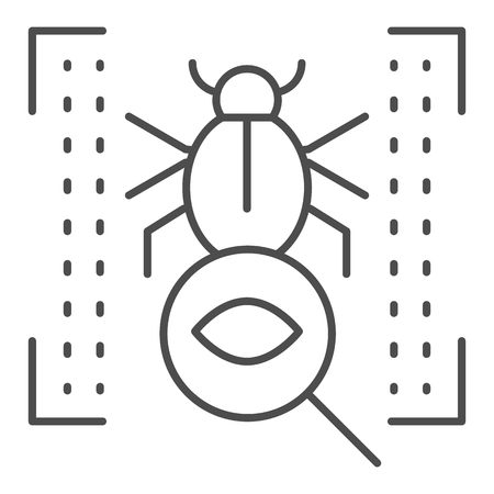 Vulnerability scan thin line icon. Bug search vector illustration isolated on white. Virus scan outline style design, designed for web and app. Eps 10 向量圖像