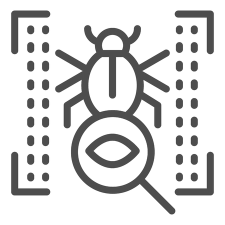 Vulnerability scan line icon. Bug search vector illustration isolated on white. Virus scan outline style design, designed for web and app. Eps 10
