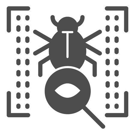 Vulnerability scan solid icon. Bug search vector illustration isolated on white. Virus scan glyph style design, designed for web and app. Eps 10 向量圖像