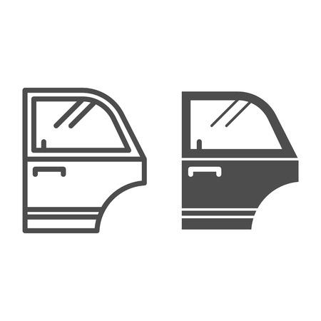 Porta della linea dell'automobile e icona del glifo. Illustrazione di vettore del dettaglio dell'automobile isolata su bianco. Design in stile contorno della parte dell'auto, progettato per il web e l'app. Eps 10 Vettoriali