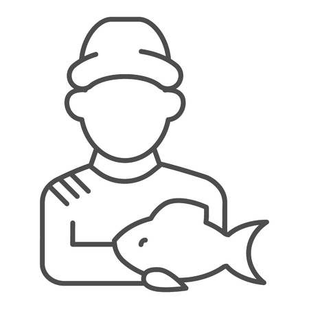 Fisherman with fish thin line icon. Fisher and the catch vector illustration isolated on white. Angler outline style design, designed for web and app. Eps 10