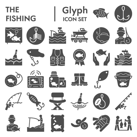 Fishing glyph icon set, fisher symbols collection, vector sketches, logo illustrations, angler signs solid pictograms package isolated on white background, eps 10 向量圖像