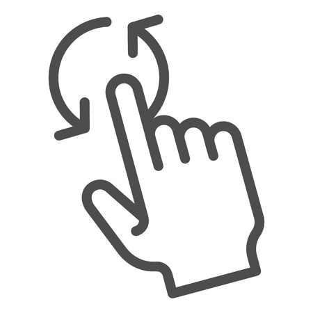 One finger rotate line icon. Gesture vector illustration isolated on white. Click rotate outline style design, designed for web and app. Eps 10