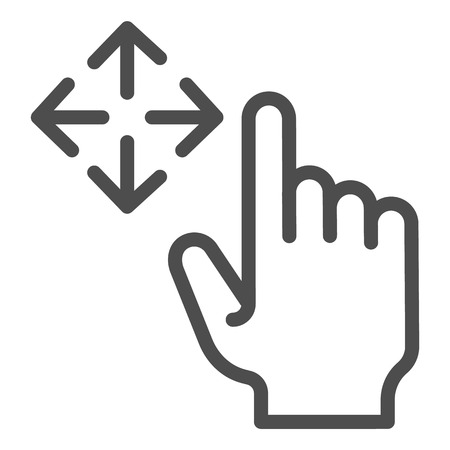 Free drag line icon. Swipe vector illustration isolated on white. Move gesture outline style design, designed for web and app. Eps 10 Illustration