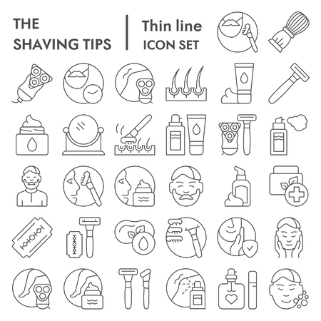 Shaving tips thin line icon set, shave symbols collection, vector sketches, logo illustrations, skin care signs linear pictograms package isolated on white background